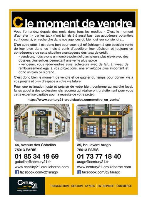 C Est Le Moment De Vendre Century 21 Arago Les Gobelins Agence